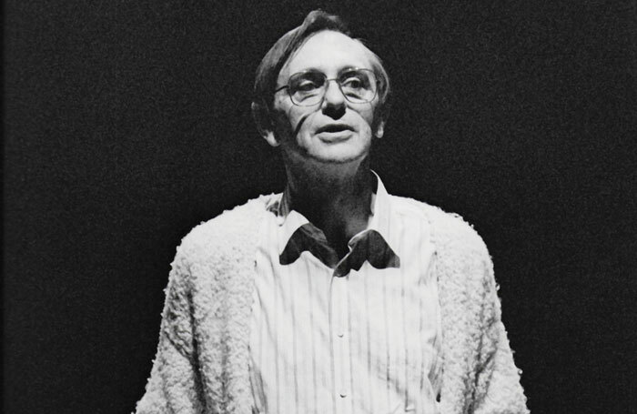 John Harrison addressing the audience on the last night of the old Leeds Playhouse in 1989