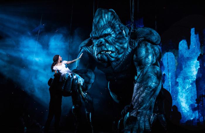 Christiani Pitts and the company of King Kong at Broadway Theatre, New York.  Photo: Matthew Murphy
