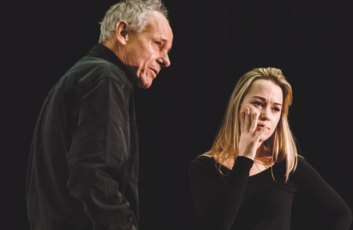 Director Simon Stokes (left) with cast member Hannah Traylen in rehearsal for The Kneebone Cadillac. Photo: Emily Appleton