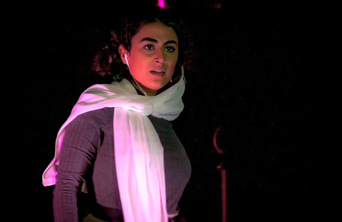 Afsaneh Dehrouyeh in The Pit and the Pendulum at Omnibus Theatre, London. Photo: Richard Budd