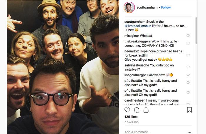 Scott Garnham's Instagram post of the Nativity company stuck in the lift