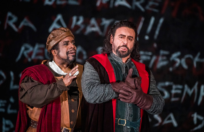 Mark Rucker and Carlos Alvarez in Simon Boccanegra at Royal Opera House, London. Photo: Tristram Kenton