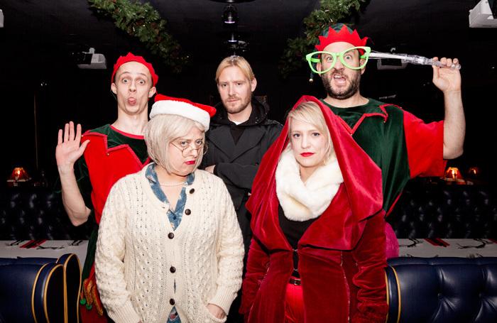 The cast of The Greatest Snowman at Pedley Street Station, London. Photo: Arabella Itani