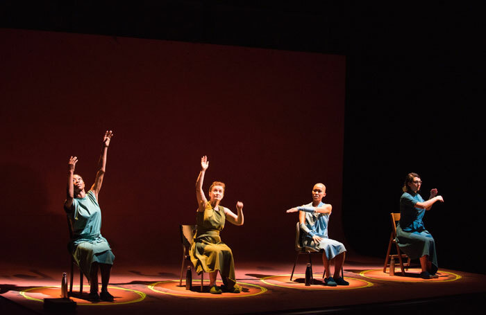 """The cast of Vessel at Battersea Arts Centre, London: """"Hard to sit through, but its sharp intelligence and elegant formality has stayed with me"""", says Lyn Gardner. Photo: Hugo Glendinning"""