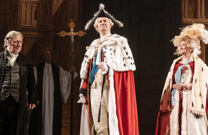 Mark Gatiss (centre) in The Madness of George III at Nottingham Playhouse. Photo: Manuel Harlan