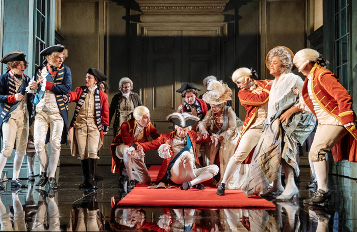 Mark Gatiss and the cast of The Madness of George III at Nottingham Playhouse: the show will be broadcast by NT Live on November 20. Photo: Manuel Harlan