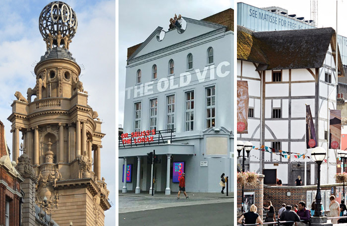 English National Opera, the Old Vic and Shakespeare's Globe have all faced board-level challenges. Photos: Andreas Praefcke (Coliseum)/John Wildgoose (Globe)