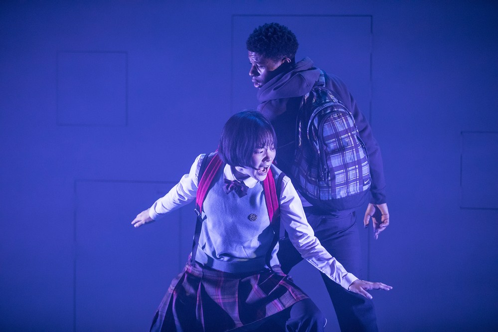 Minju Kim and Rasaq Kukoyi in Orange Polar Bear at Birmingham Repertory Theatre. Photo:  Sung-yong Jang and Won-gyun Jung