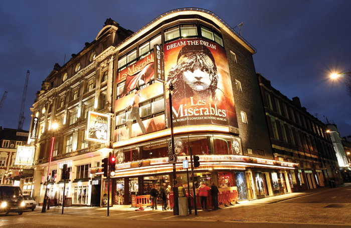 Les Miserables at the Queen's in London's West End. Photo: Shutterstock