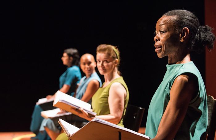 The cast of Vessel at Battersea Arts Centre, London. Photo: Hugo Glendinning