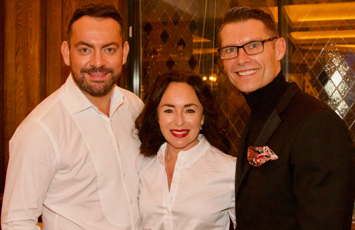 Ben Forster, Samantha Spiro and John Partridge at the Acting for Others event. Photo: Mark Lomas