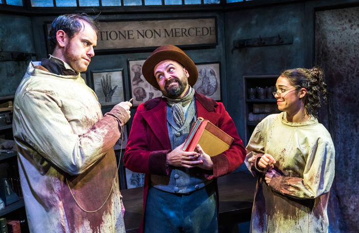 Hayden Wood, Alex Parry and Katy Daghorn in Burke and Hare at Jermyn Street Theatre, London. Photo: Tristram Kenton