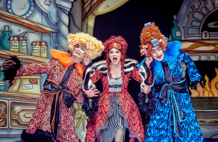 Chris Chilton, Brandi Himmelreich and Chris Hannon in Cinderella at Theatre Royal Wakefield.  Photo: Robling Photography
