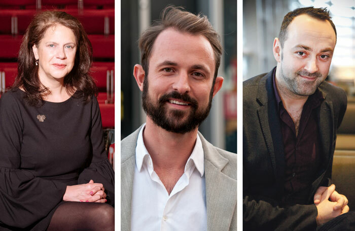 Regional theatre bosses including, left to right, Birmingham Repertory's Roxana Silbert (photo: Manuel Harlan), Southampton Nuffield's Sam Hodges (photo: James Newell) and Leicester Curve's Chris Stafford (photo: Pamela Raith) say performers are increasingly turning down regional work in the hope of