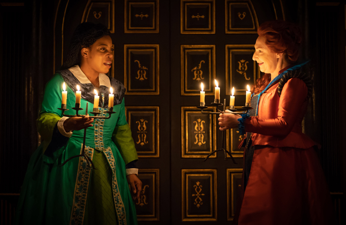 Jocelyn Jee Esien and Pauline McLynn in Doctor Faustus at the Sam Wanamaker Playhouse, London. Photo: Marc Brenner