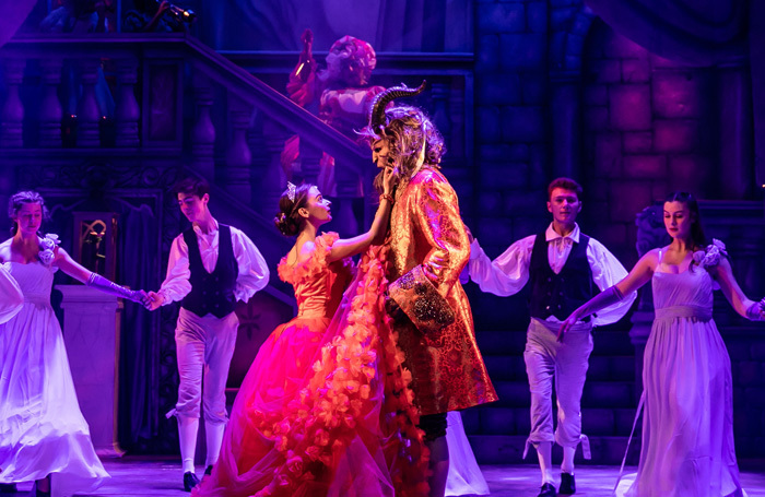 Eleanor Bennett and Nathan Turner in Beauty and the Beast at Theatre Royal Winchester. Photo: The Other Richard