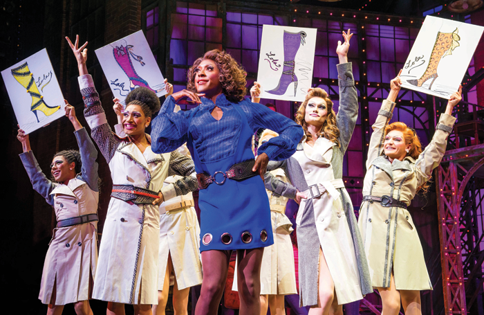 Matt Henry and ensemble in Kinky Boots at London's Adelphi Theatre. Photo: Matt Crockett