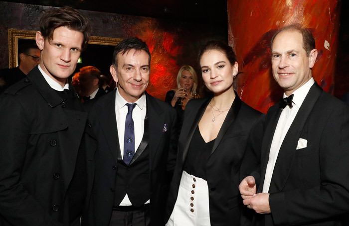 Matt Smith, National Youth Theatre's Paul Roseby, Lily James and Prince Edward at the NYT fundraiser gala. Photo: Getty Images