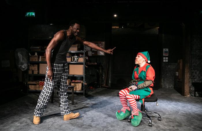 Michael Salami and Dan Starkey star in The Night Before Christmas at Southwark Playhouse. Photo: Darren Bell
