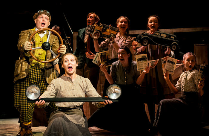 Cast of The Wind in the Willows at the New Vic Theatre, Newcastle-under-Lyme. Photo: Andrew Billington
