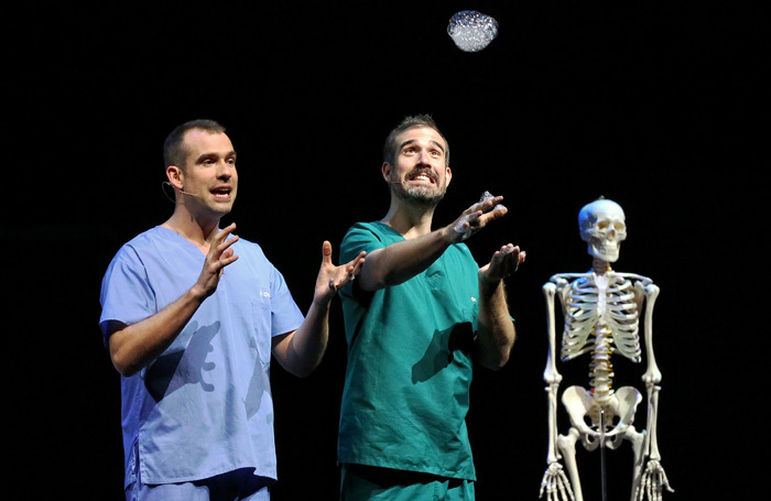 Chris and Xand van Tulleken in Operation Ouch! at Apollo Theatre, London. Photo: Prudence Upton