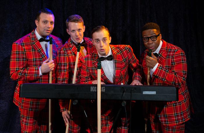 The cast of Plaid Tidings at Bridge House Theatre, London