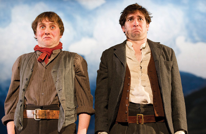 Jamie Beamish and Owen McDonnell in Stones in his Pockets at the Tricycle Theatre in 2012 – in which two actors play 15 characters. Photo: Tristram Kenton