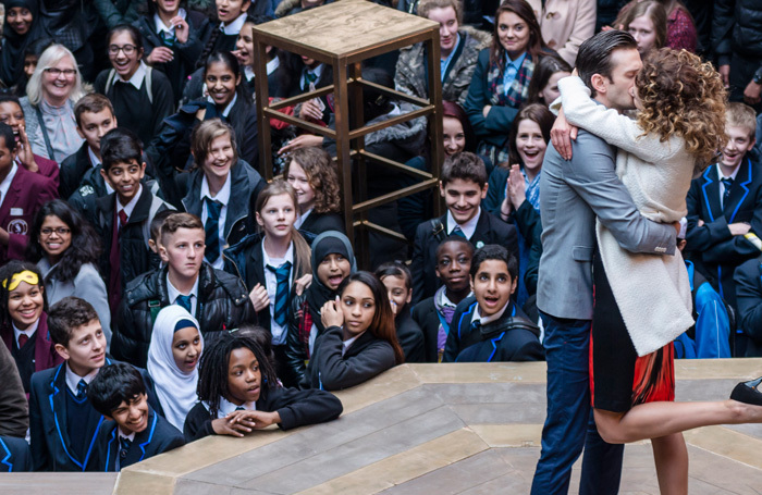 School pupils watch a performance of The Merchant of Venice at Shakespeare's Globe. Chief executive Neil Constable says all students should have this opportunity. Photo: Amit Lennon