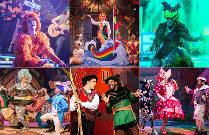 Clockwise from top left: Dick Whittington in Mold, Mother goose Cracks One Out in London, Sleepin' Cutie in Stirling, Jack and the Beanstalk in Colchester, Robin Hood and the Babes in the Wood in Nottingham and Robinson Crusoe in London. Photos: PBG Studios/Mihaela Bodlovic/Scott Rylander/Pamela Rai