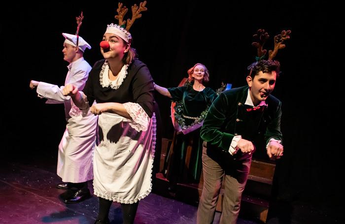 The cast of Crimes of the Christmas Pudding at Garrick Theatre, Lichfield. Photo: Pamela Raith.