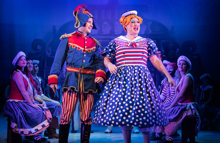 Ben Thornton and Sam Rabone in Dick Whittington at Lichfield Garrick Theatre. Photo: Pamela Raith