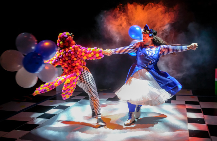 Josie Dunn and Ebony Jonelle in Alice and Wonderland at Stephen Joseph Theatre. Photo: Tony Bartholomew