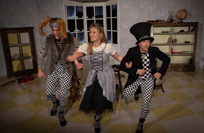 Lawrence Russell, Leonie Spilsbury, and Darren Latham in Alice in Wonderland at Avenue Theatre, Ipswich