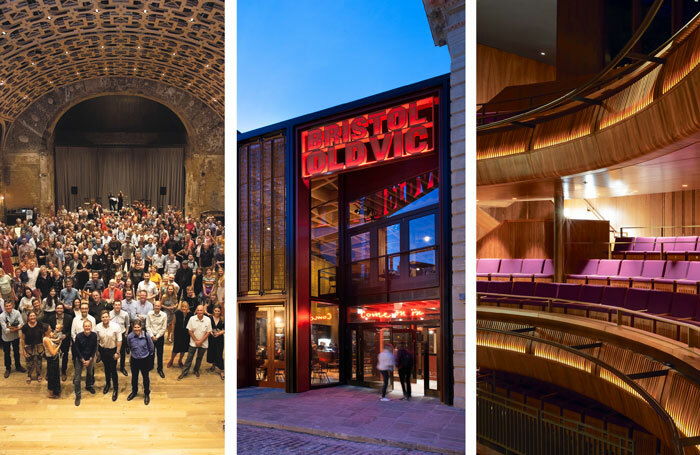 Celebration of BAC's reopening in July 2018 (photo: James Allan), the redesigned Bristol Old Vic (photo: Philip Vile) and the ROH's Linbury Theatre auditorium (photo: Philip Vile)