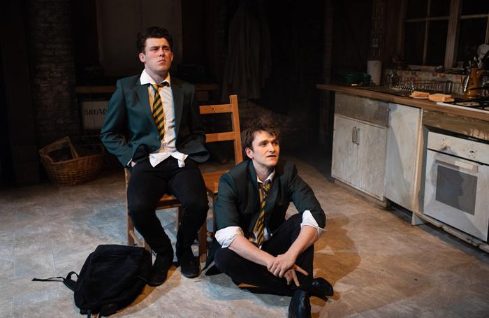 Niall McNamee and Shane O'Regan in Chasing Bono at Soho Theatre, London. Photo Helen Maybanks