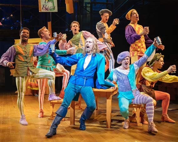 Edward Baker Duly and the Company in Kiss Me, Kate at Crucible Theatre, Sheffield. Photo: Manuel Harlan