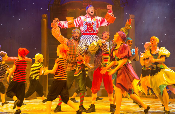 Jon Monie as Smee with Antony Morgan and Clinton Purnell in Peter Pan at Theatre Royal, Bath. Photo: Freia Turl