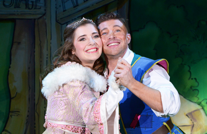 Bethan Nash as Princess Jill and Duncan James as Jack in Jack and the Beanstalk at Derby Arena. Photo: Robert Day