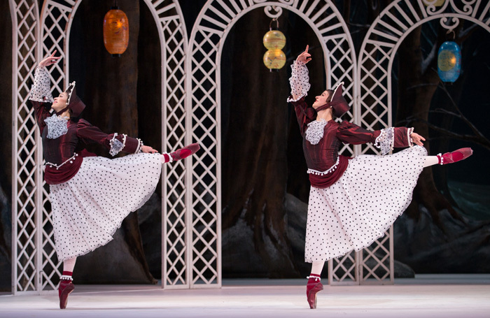 Stix Brunell and Mayara Magri in Les Patineurs at Royal Opera House, London. Photo: Alice Pennefather