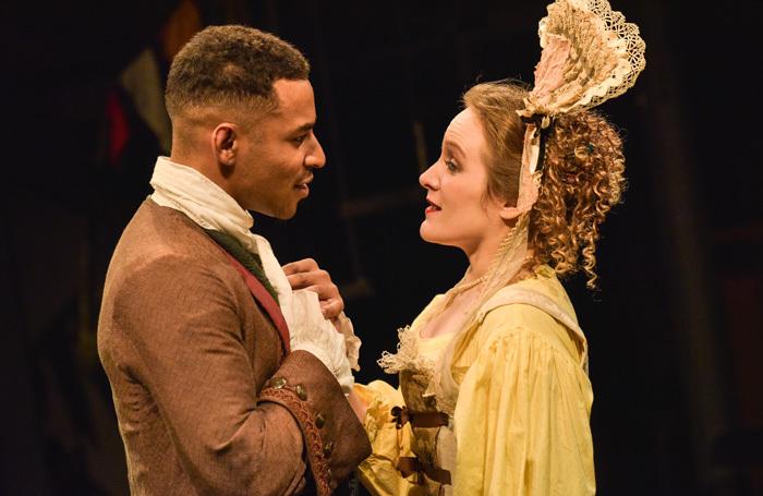 Lloyd Everitt and Zoe Waites in The Double Dealer at Orange Tree Theatre, London. Photo: Robert Day