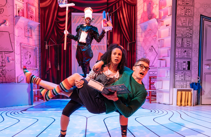 Nana Amoo Gottfried, Melissa Lowe and Sam Angell in The Cat in the Hat at Leicester Curve