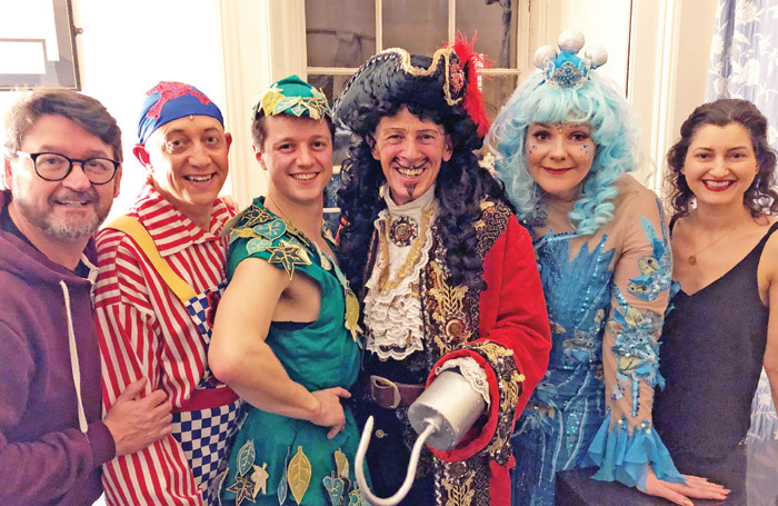 Peter Pan at Theatre Royal Bath  – director Michael Gattrell with cast members Jon Monie, Tim Edwards, Paul Nicholas,  Rebecca Wheatley and choreographer Danielle Drayton. Photo: Louise Curwen