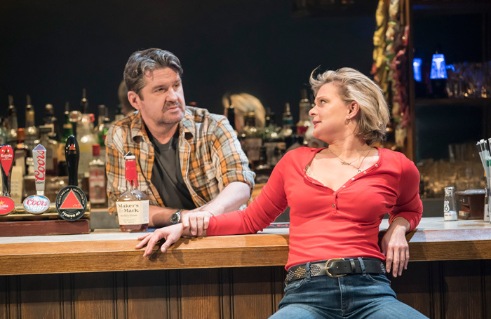 Stuart McQuarrie and Martha Plimpton in Sweat at Donmar Warehouse, London. Photo: Johan Persson