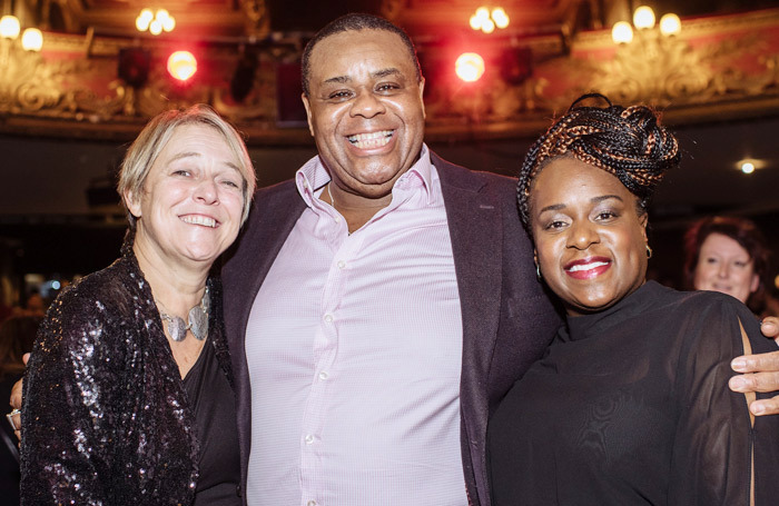Director Susie McKenna with cast members Clive Rowe and Tameka Empson at the press night for Aladdin at Hackney Empire. Photo:  David Monteith-Hodge