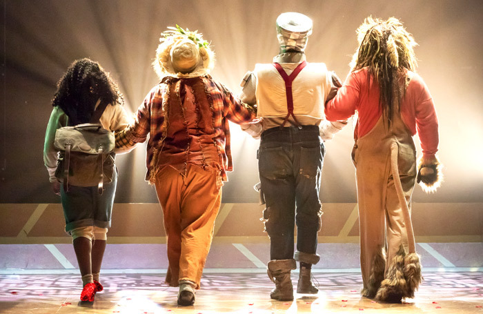 Consuela Rolle, Natalie Woods, Ben Oliver and Richard Colvin in The Wizard of Oz at Chester Storyhouse. Photo: Mark Carline