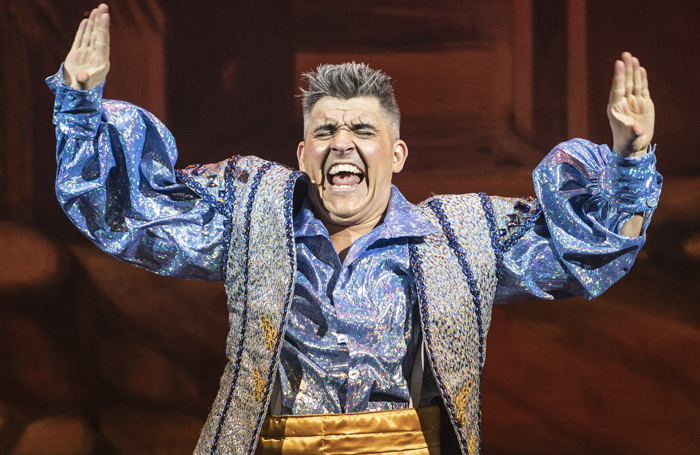 Variety veteran Ricky K gives an energetic performance as Wishee Washee in Aladdin at the Orchard Theatre, Dartford