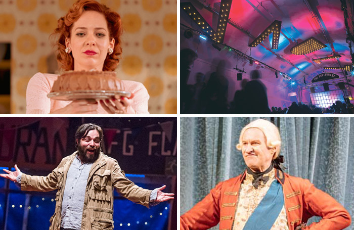 Clockwise from top left: Home, I'm Darling at Theatre Clwyd, Vault Festival, The Madness of George III at Nottingham Playhouse and The Jungle in the West End. Photos: Manuel Harlan/Tristram Kenton