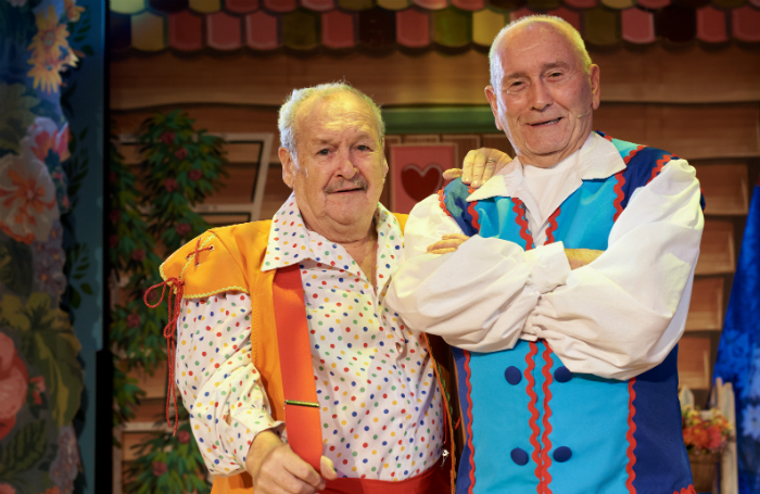 Bobby Ball and Tommy Cannon in Jack and the Beanstalk at Crewe Lyceum. Photo: Wes Webster Photography
