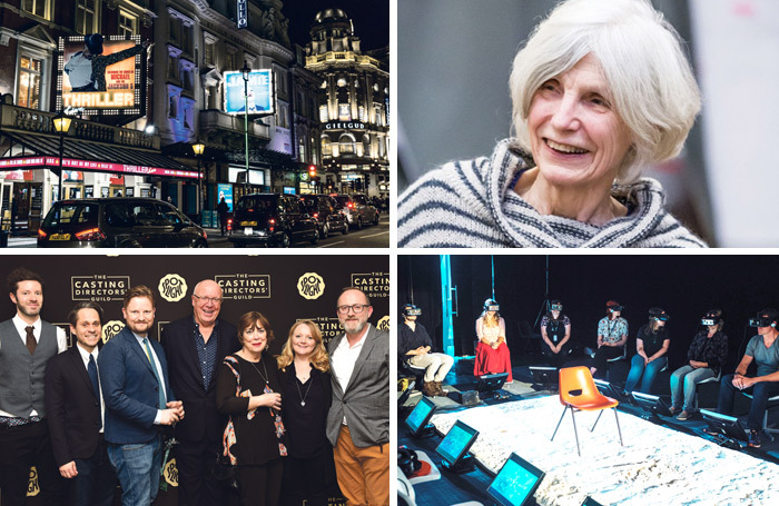 Clockwise from top left: London's West End, Caryl Churchill, interactive theatre and casting directors. Photos: Shutterstock/Marc Brenner/David Monteith-Hodge/Scarlet Page