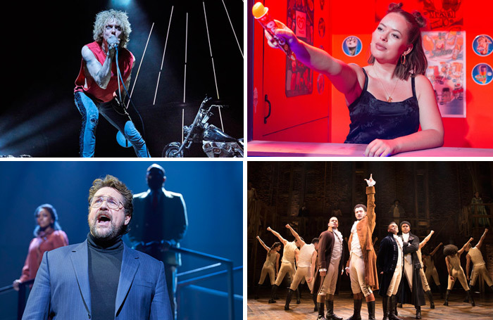 Clockwise from top left: Bat Out of Hell, Confidence, Hamilton and Chess. Photos: Specular.Helen Murray/Matthew Murphy/BrinkhoffMogenburg